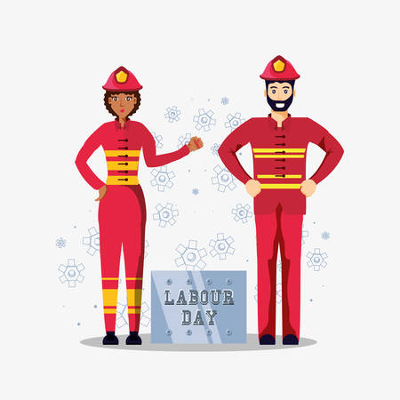 labour day celebration with firefighters vector illustration design  イラスト・ベクター素材