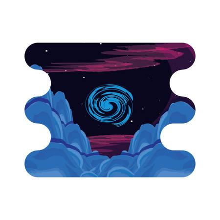 black hole space scene vector illustration design