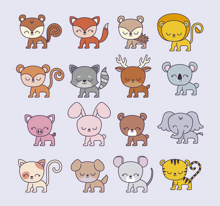 group of cute animals vector illustration design Foto de archivo - 133633671