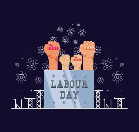 labour day celebration with hands fist vector illustration design  イラスト・ベクター素材