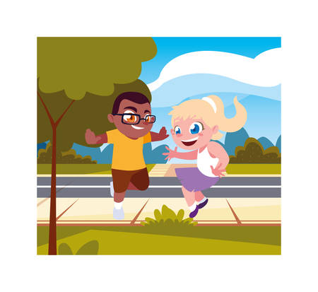 Boy and girl cartoon playing outside design, Kid childhood little people lifestyle and person theme Vector illustration Stock fotó - 133656991