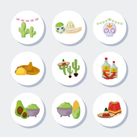 bundle mexican traditional set icons vector illustration design
