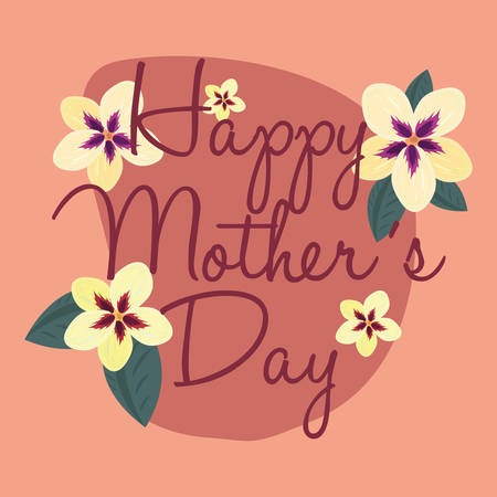 happy mothers day flowers celebration vector illustration