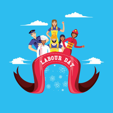 labour day celebration with group of professionals vector illustration design  イラスト・ベクター素材