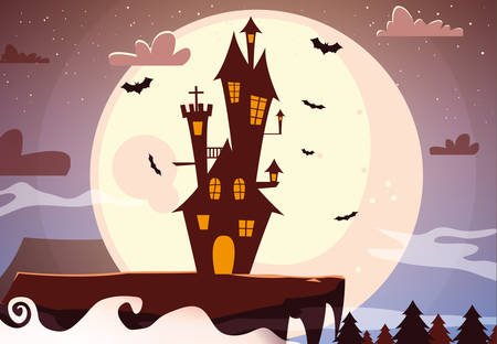 Castle design, Halloween holiday horror scary celebration autumn dark and party theme Vector illustration