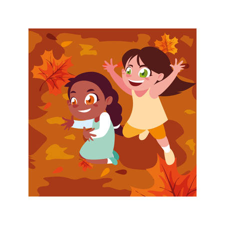 Girls cartoons playing outside design, Kid childhood little people lifestyle and person theme Vector illustration Illusztráció