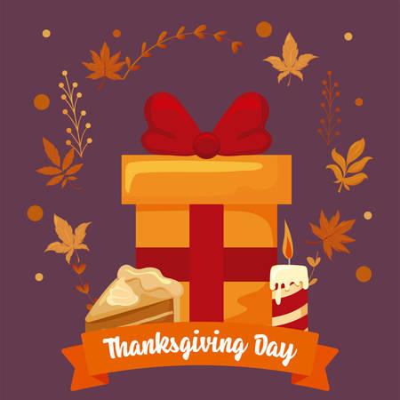 gift and label thanksgiving day vector illustration design Stock Illustratie