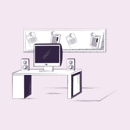 office with desk computer speakers board note vector illustration