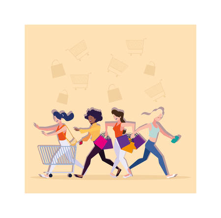 women shopping design, Commerce market store retail paying and buying theme Vector illustration Ilustracja