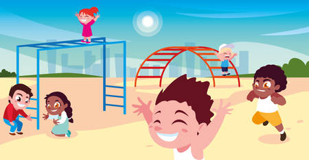 scene of children smiling and playing vector illustration design Ilustrace