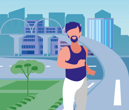 Man running outside design, Healthy lifestyle Fitness bodybuilding bodycare activity and exercisetheme Vector illustration