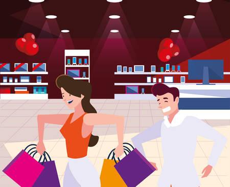 Black fridays shop design, sale offer discount holiday promotion cheap and commerce theme Vector illustration Banco de Imagens - 133711209