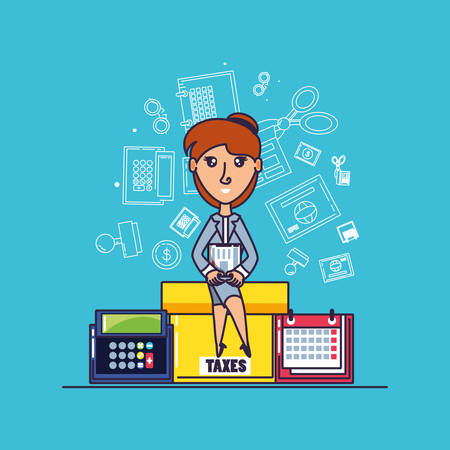 tax day with businesswoman and set icons vector illustration design Ilustrace