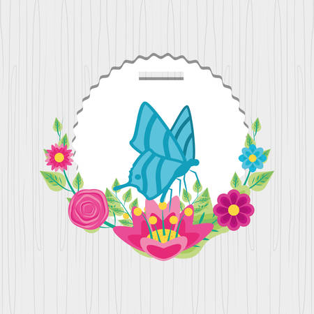 butterfly in frame circular with decoration of flowers vector illustration design