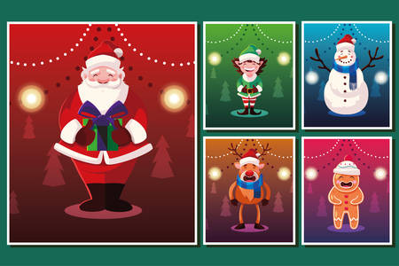 bundle christmas cards with icons set vector illustration design