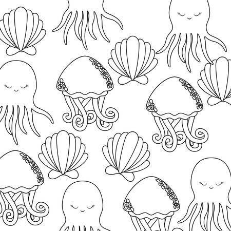 pattern of octopus with seashell and jellyfish vector illustration design 向量圖像
