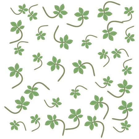 branch leaves foliage decoration background vector illustration Vektorové ilustrace