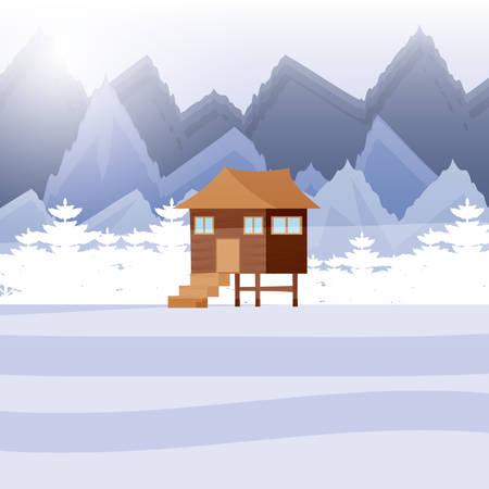 log cabin wooden in snowscape vector illustration design