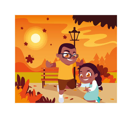 Boy and girl cartoon playing outside design, Kid childhood little people lifestyle and person theme Vector illustration Stock fotó - 133711926