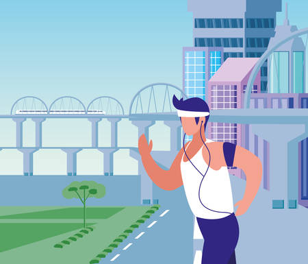 Man running outside design, Healthy lifestyle Fitness bodybuilding bodycare activity and exercisetheme Vector illustration Archivio Fotografico - 133767249