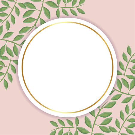frame circular with branches and leafs natural vector illustration design 向量圖像