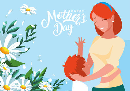 happy mother day card with mom and son vector illustration design