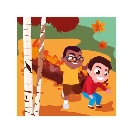 Boys cartoons playing outside design, Kid childhood little people lifestyle and person theme Vector illustration Illusztráció