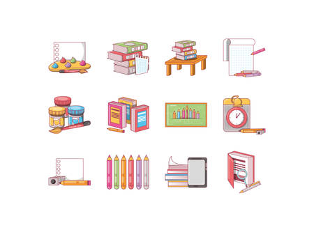 school icon set pack, High Quality variety symbols Vector illustration