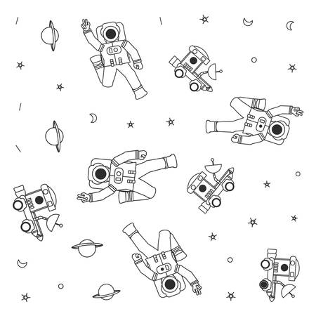 pattern on spaces explorers cars with astronauts suits vector illustration design