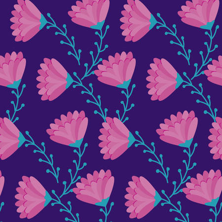pattern of beautiful flowers with branches and leafs vector illustration design 向量圖像