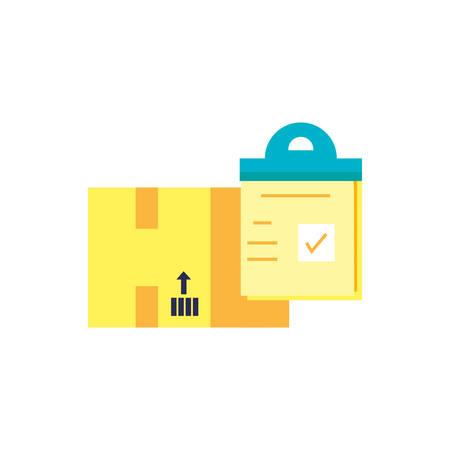 box carton with checklist clipboard vector illustration design