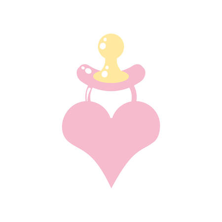 cute pacifier baby with heart love vector illustration design