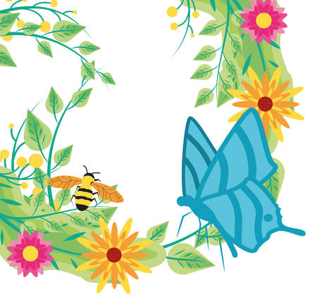 decoration of flowers with bee and butterfly vector illustration design