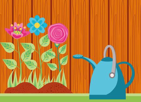 flowers nature with sprinkler pot in wooden pattern vector illustration design Reklamní fotografie - 133768527