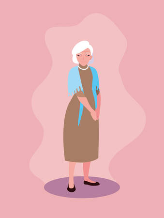 old woman with dress avatar character vector illustration design