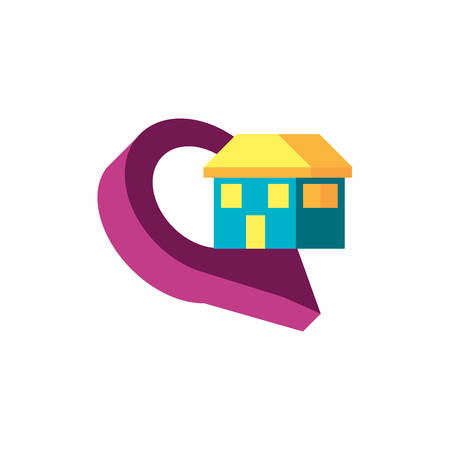 house facade with pin location vector illustration design