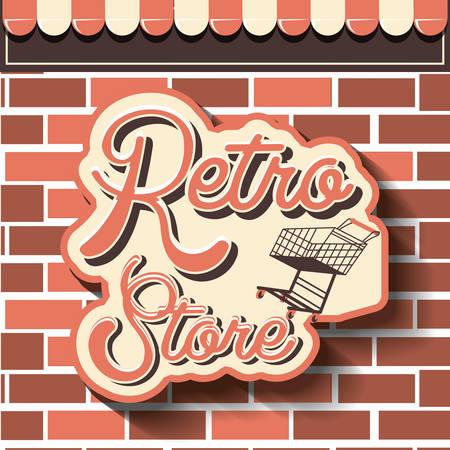 retro store shopping cart brick wall vector illustration Banco de Imagens - 133768764