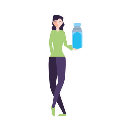 young woman with bottle beverage vector illustration design Ilustrace