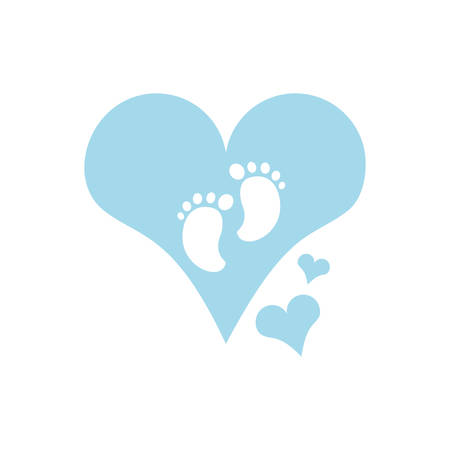 cute baby footprints in heart vector illustration design Illusztráció