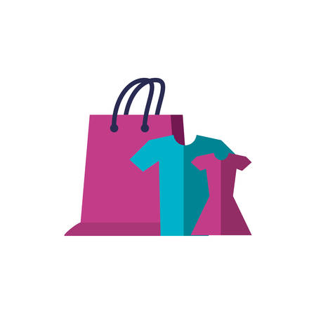 set clothes with shopping bag vector illustration design Stock Illustratie