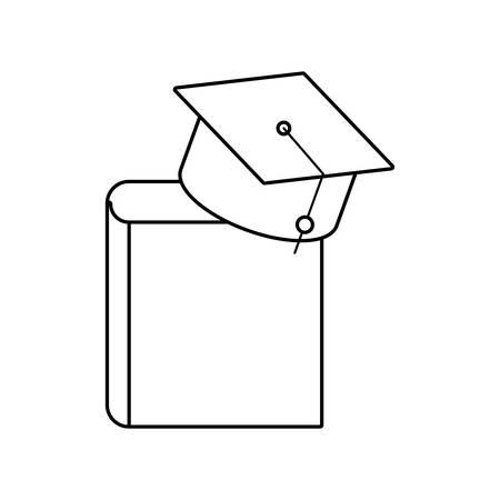 textbook education with hat graduation vector illustration design