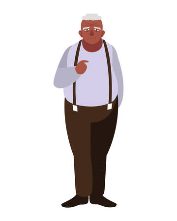 Grandfather cartoon design, Old person grandparents man avatar senior and adult theme Vector illustration
