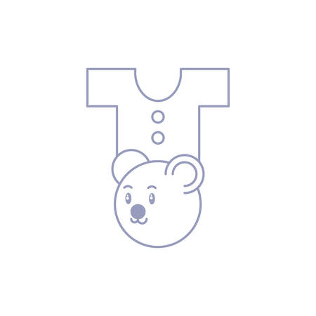 head of cute bear with clothes for baby vector illustration design