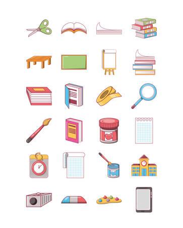 pacchetto di set di icone della scuola, illustrazione vettoriale di simboli di varietà di alta qualità Vettoriali