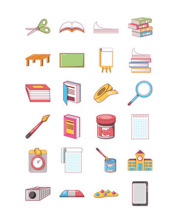 school icon set pack, High Quality variety symbols Vector illustration Ilustração Vetorial
