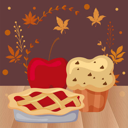 delicious and fresh cakes with apple with autumn leaves of background vector illustration design