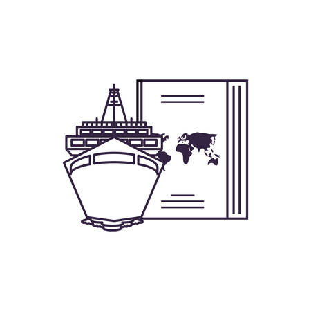 ship cruise boat with passport document vector illustration design
