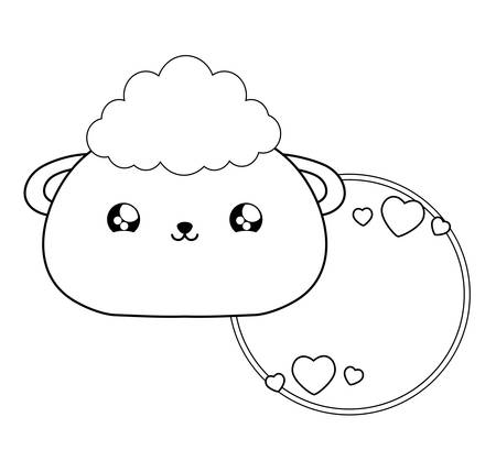 cute sheep baby animal style vector illustration design