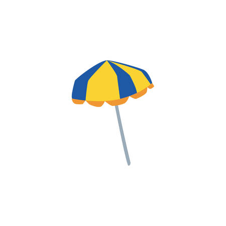beach umbrella for summer striped on white background vector illustration design