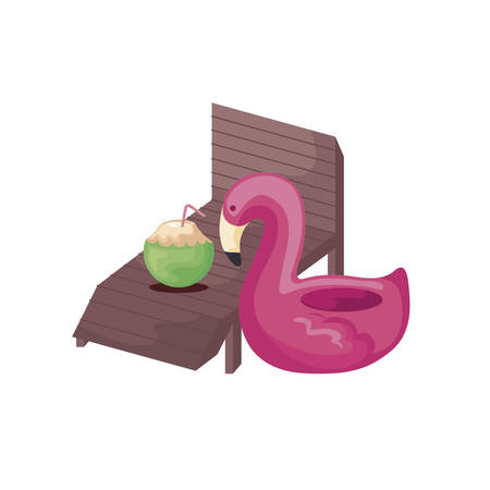 float flemish with chair beach and cocktail coconut vector illustration design
